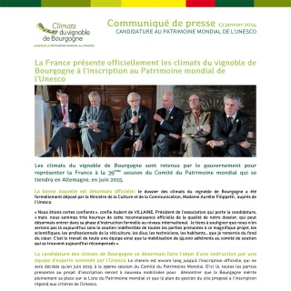 Press release (FR) - Climats, Official Candidate for France