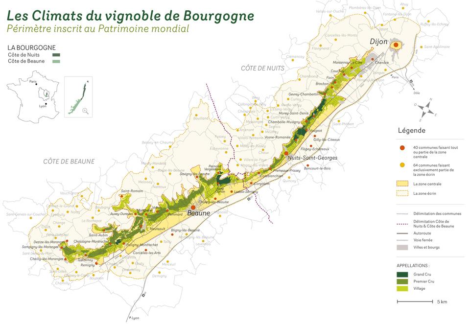 Carte Bourgogne Maranges.Perimetre Geographique
